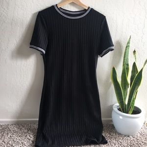 Black ribbed bodycon dress w neck/sleeve detailing
